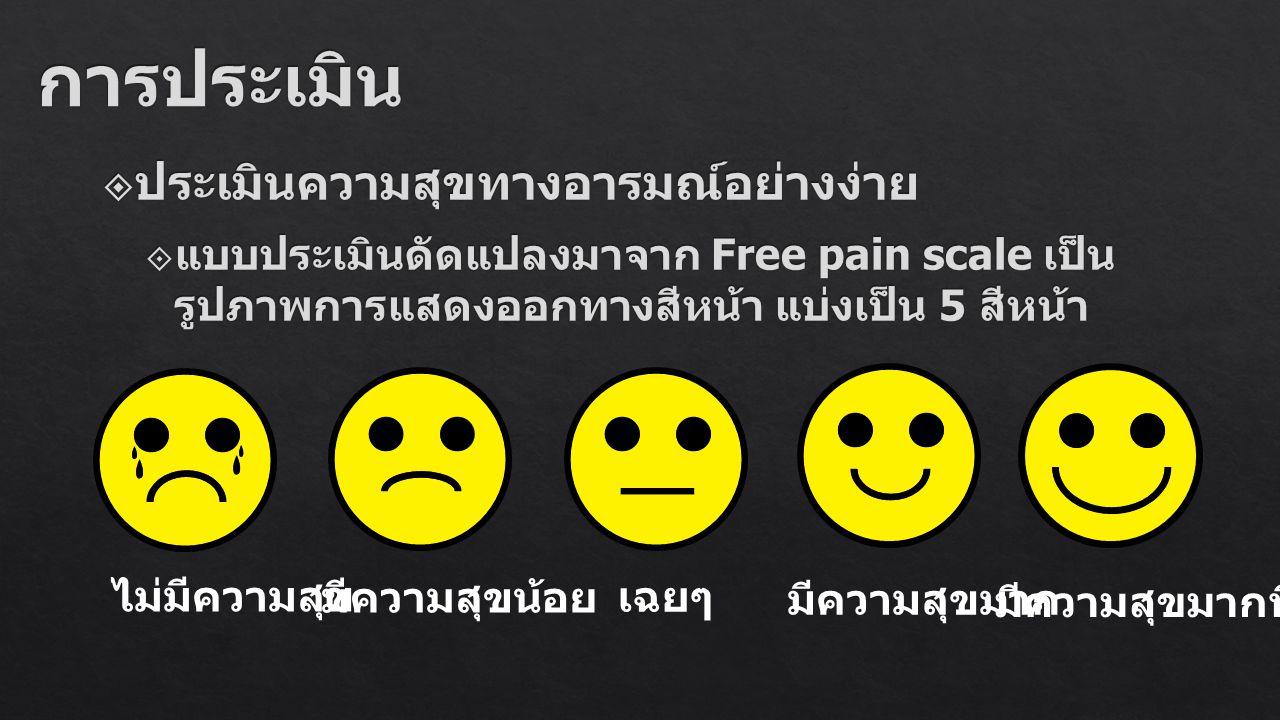 ไม่มีความสุข มีความสุขน้อย เฉยๆ มีความสุขมาก มีความสุขมากที่สุด