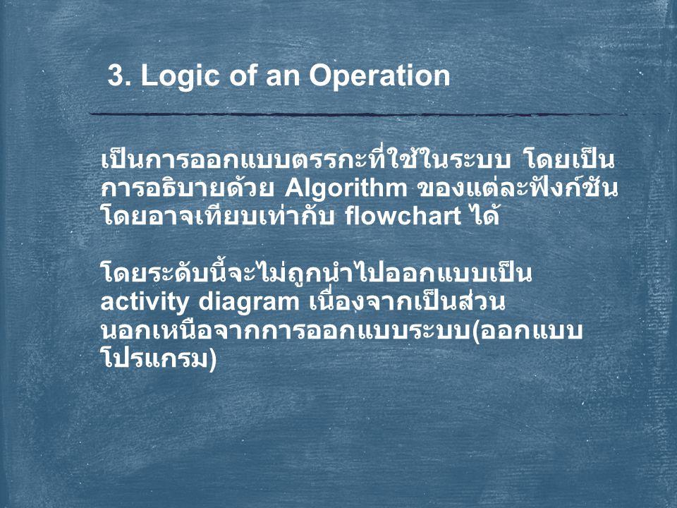 3. Logic of an Operation เป็นการออกแบบตรรกะที่ใช้ในระบบ โดยเป็น การอธิบายด้วย Algorithm ของแต่ละฟังก์ชัน โดยอาจเทียบเท่ากับ flowchart ได้ โดยระดับนี้จ