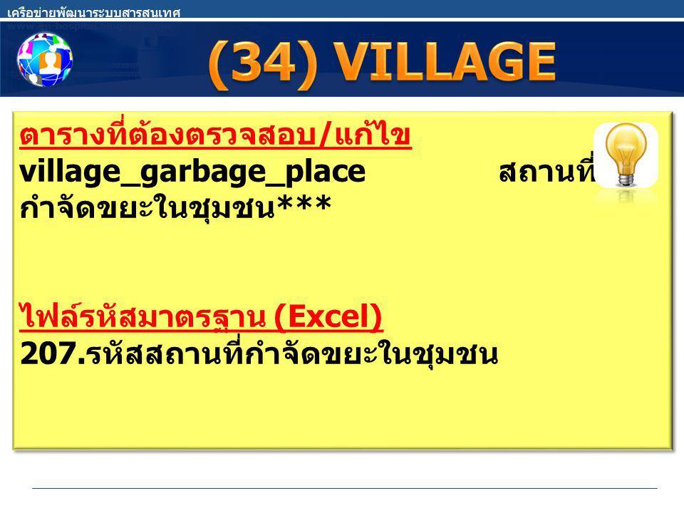 ตารางที่ต้องตรวจสอบ / แก้ไข village_garbage_place สถานที่ กำจัดขยะในชุมชน *** ไฟล์รหัสมาตรฐาน (Excel) 207.