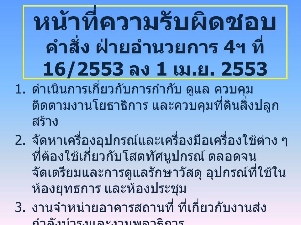 หน้าที่ความรับผิดชอบ คำสั่ง ฝ่ายอำนวยการ 4 ฯ ที่ 16/2553 ลง 1 เม.