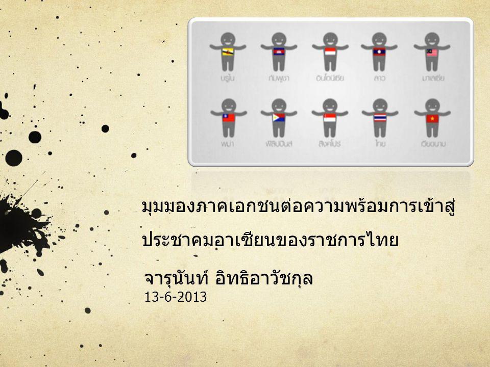 มุมมองภาคเอกชนต่อความพร้อมการเข้าสู่ ประชาคมอาเซียนของราชการไทย จารุนันท์ อิทธิอาวัชกุล 13-6-2013