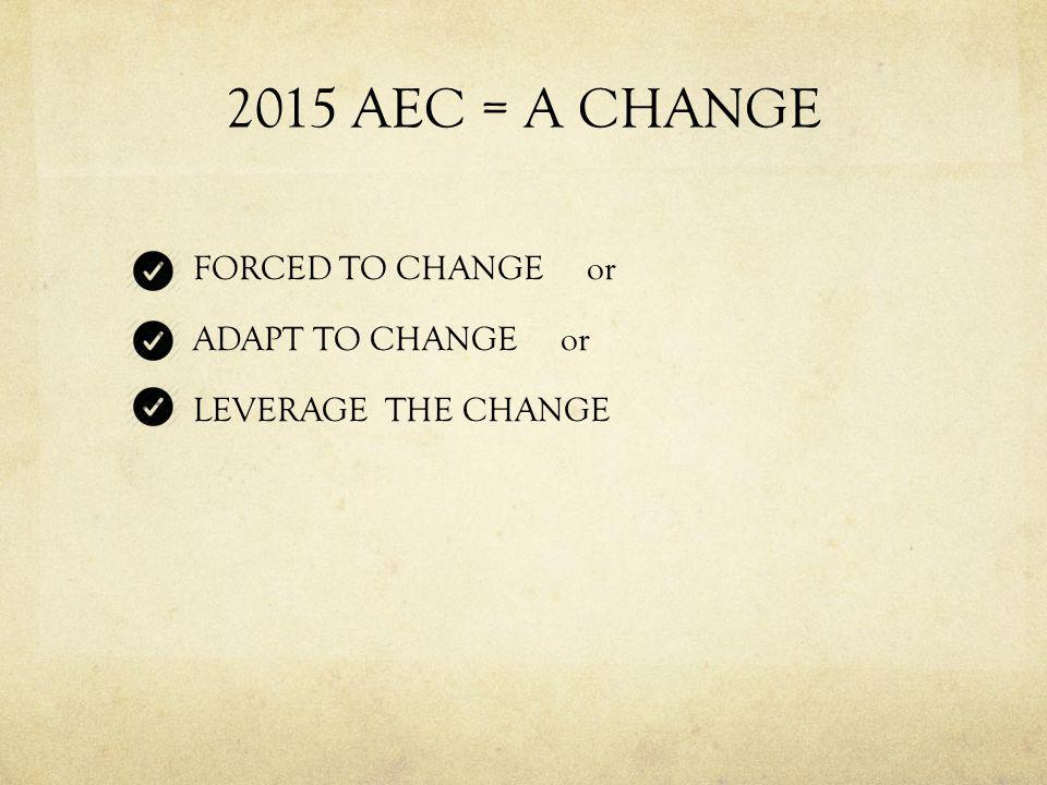 2015 AEC = A CHANGE FORCED TO CHANGE or ADAPT TO CHANGE or LEVERAGE THE CHANGE