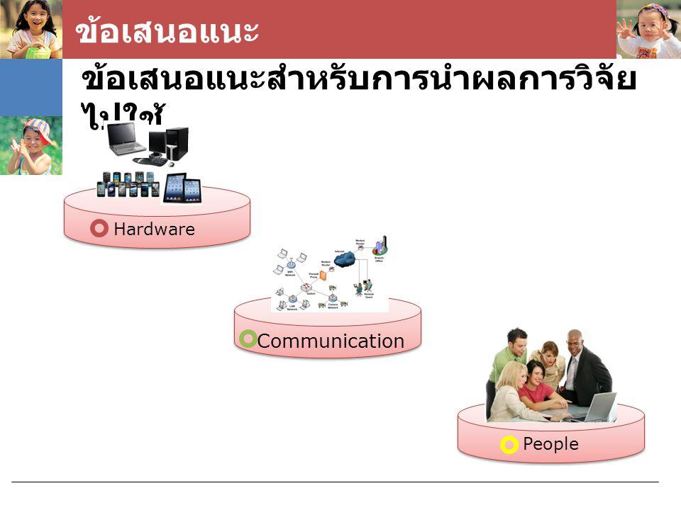 ข้อเสนอแนะ ข้อเสนอแนะสำหรับการนำผลการวิจัย ไปใช้ Hardware Communication People