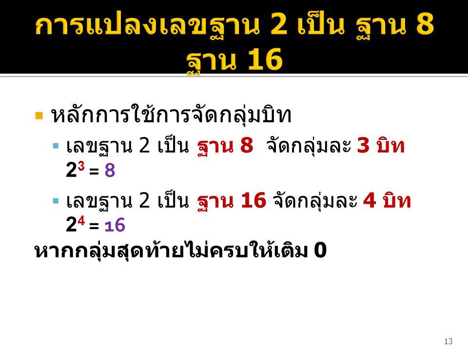  หลักการใช้การจัดกลุ่มบิท  เลขฐาน 2 เป็น ฐาน 8 จัดกลุ่มละ 3 บิท 2 3 = 8  เลขฐาน 2 เป็น ฐาน 16 จัดกลุ่มละ 4 บิท 2 4 = 16 หากกลุ่มสุดท้ายไม่ครบให้เติม 0 13