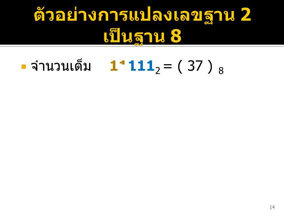  จำนวนเต็ม 11111 2 = ( 37 ) 8 14 0 1 1 (0*4)+(1*2)+(1*1) 37 1 1 1 (1*4)+(1*2)+(1*1)