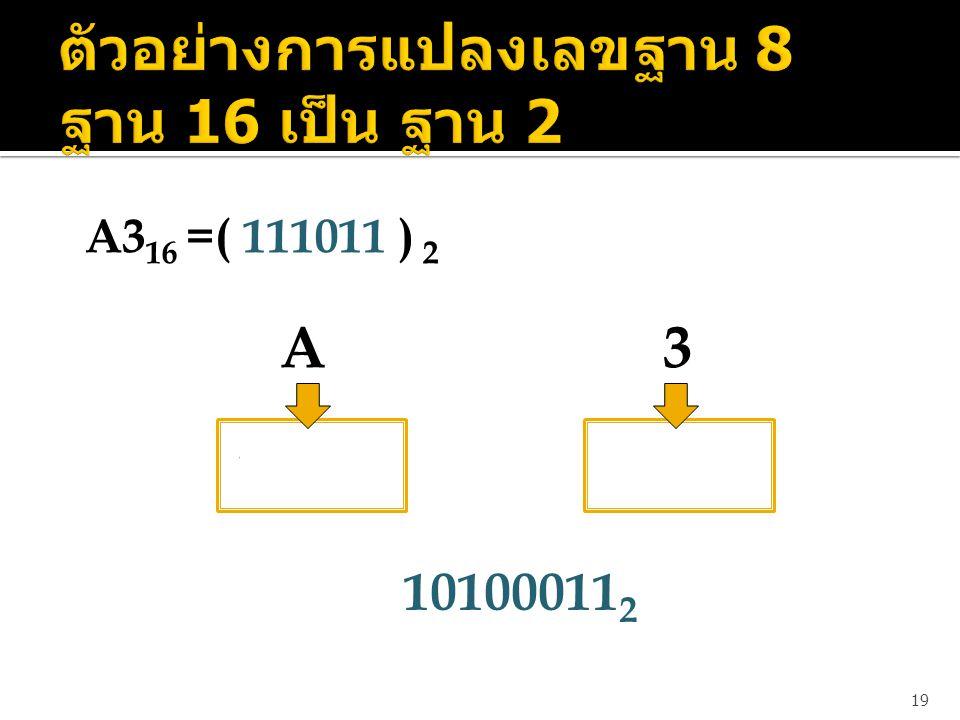 19 A3 16 =( 111011 ) 2 A 3 1 0 1 0 0 0 1 1 10100011 2