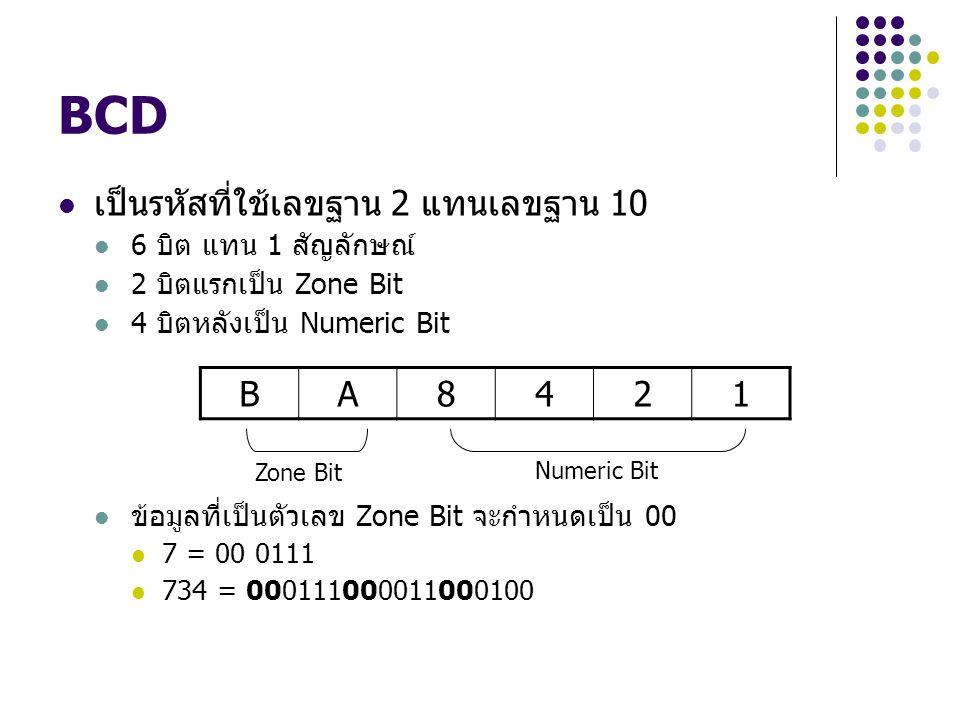 BCD เป็นรหัสที่ใช้เลขฐาน 2 แทนเลขฐาน 10 6 บิต แทน 1 สัญลักษณ์ 2 บิตแรกเป็น Zone Bit 4 บิตหลังเป็น Numeric Bit ข้อมูลที่เป็นตัวเลข Zone Bit จะกำหนดเป็น