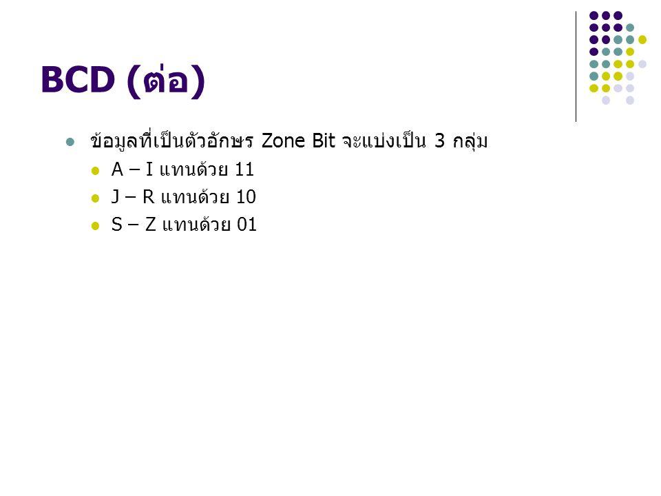 BCD (ต่อ) ข้อมูลที่เป็นตัวอักษร Zone Bit จะแบ่งเป็น 3 กลุ่ม A – I แทนด้วย 11 J – R แทนด้วย 10 S – Z แทนด้วย 01