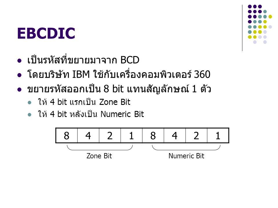 EBCDIC เป็นรหัสที่ขยายมาจาก BCD โดยบริษัท IBM ใช้กับเครื่องคอมพิวเตอร์ 360 ขยายรหัสออกเป็น 8 bit แทนสัญลักษณ์ 1 ตัว ให้ 4 bit แรกเป็น Zone Bit ให้ 4 b