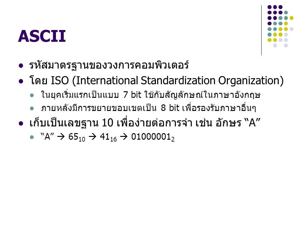 ASCII รหัสมาตรฐานของวงการคอมพิวเตอร์ โดย ISO (International Standardization Organization) ในยุคเริ่มแรกเป็นแบบ 7 bit ใช้กับสัญลักษณ์ในภาษาอังกฤษ ภายหล