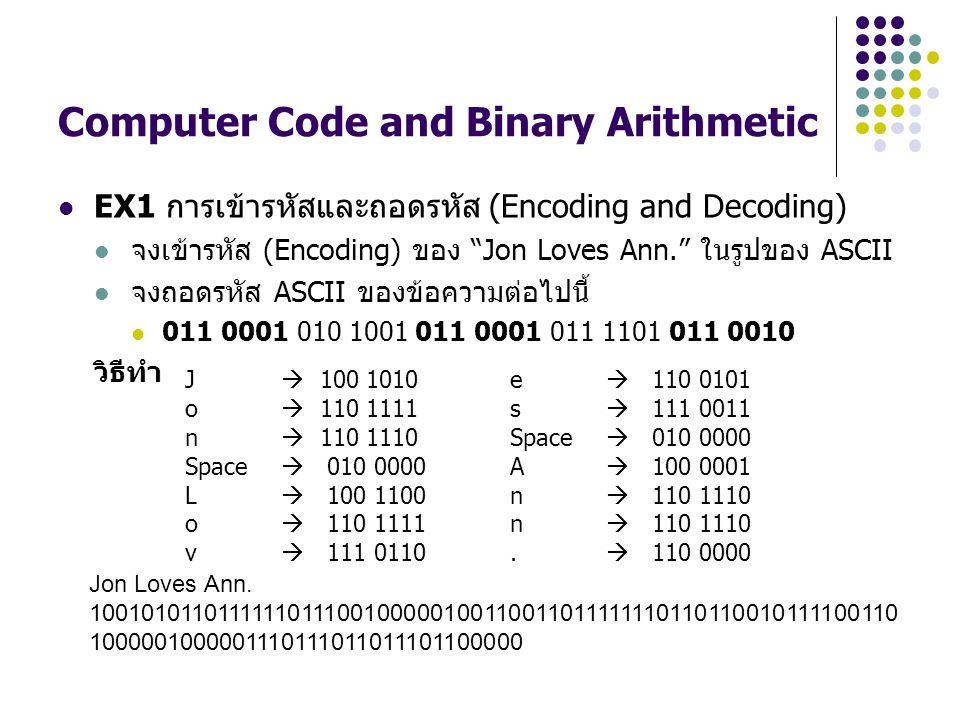 "Computer Code and Binary Arithmetic EX1 การเข้ารหัสและถอดรหัส (Encoding and Decoding) จงเข้ารหัส (Encoding) ของ ""Jon Loves Ann."" ในรูปของ ASCII จงถอดร"