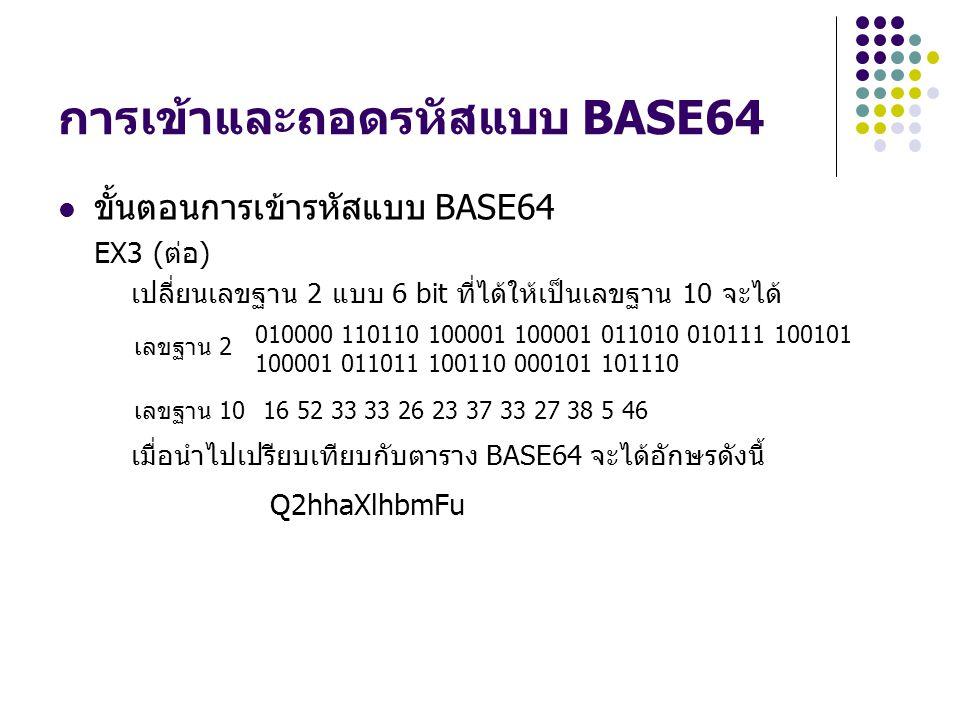 การเข้าและถอดรหัสแบบ BASE64 ขั้นตอนการเข้ารหัสแบบ BASE64 EX3 (ต่อ) เปลี่ยนเลขฐาน 2 แบบ 6 bit ที่ได้ให้เป็นเลขฐาน 10 จะได้ เมื่อนำไปเปรียบเทียบกับตาราง