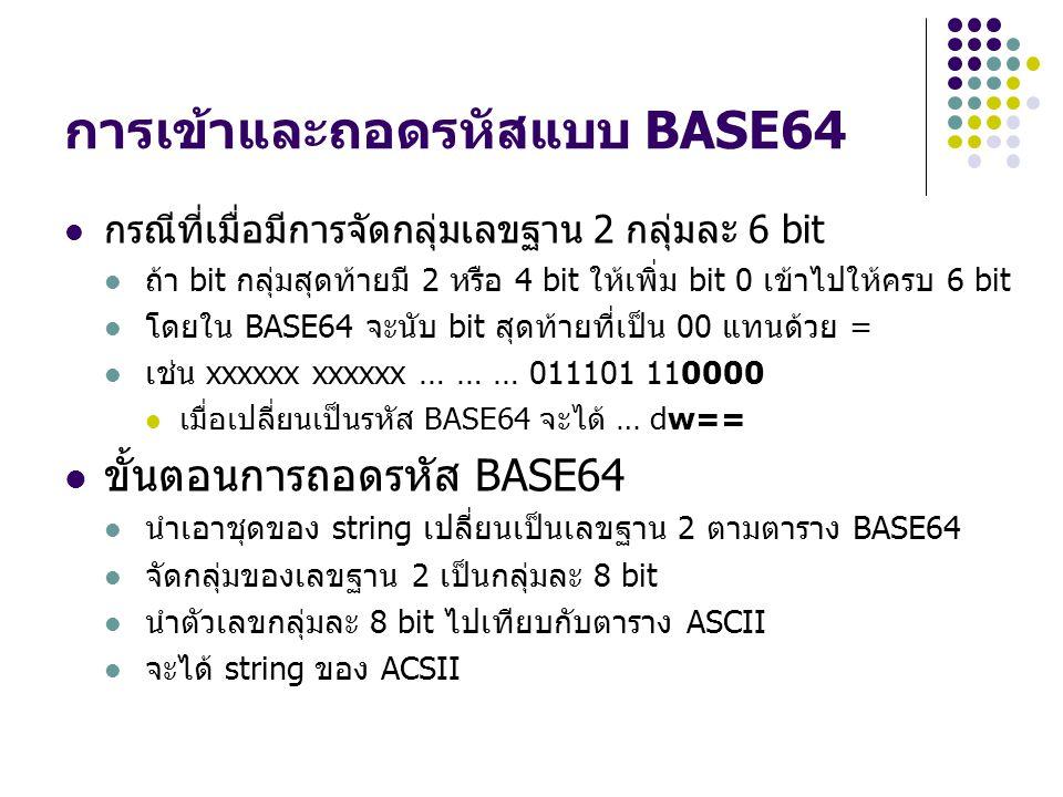 การเข้าและถอดรหัสแบบ BASE64 กรณีที่เมื่อมีการจัดกลุ่มเลขฐาน 2 กลุ่มละ 6 bit ถ้า bit กลุ่มสุดท้ายมี 2 หรือ 4 bit ให้เพิ่ม bit 0 เข้าไปให้ครบ 6 bit โดยใ