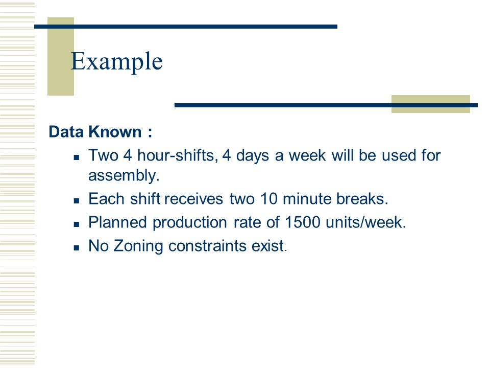 Data Known : Two 4 hour-shifts, 4 days a week will be used for assembly. Each shift receives two 10 minute breaks. Planned production rate of 1500 uni