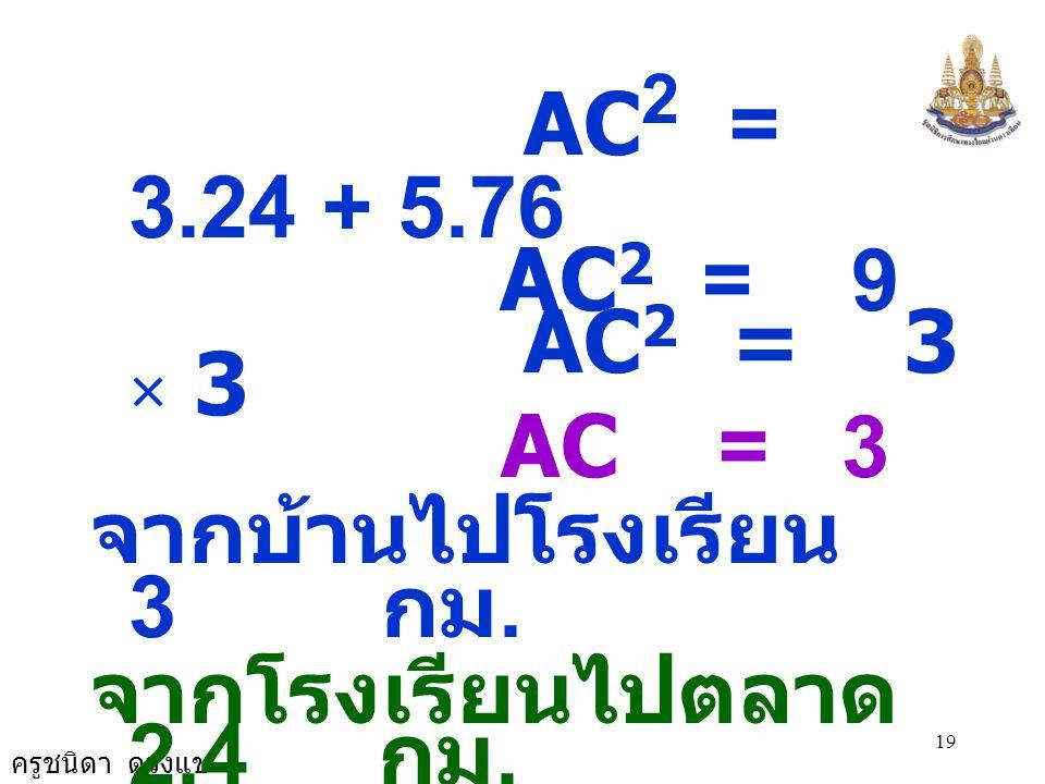 ครูชนิดา ดวงแข 19 AC 2 = 3.24 + 5.76 AC 2 = 9 AC 2 = 3 × 3 AC = 3 จากบ้านไปโรงเรียน 3 กม. จากโรงเรียนไปตลาด 2.4 กม. จากตลาดไปบ้าน 1.8 กม.