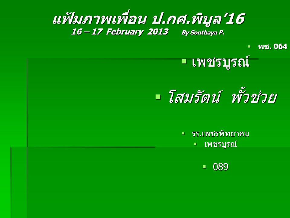 แฟ้มภาพเพื่อน ป.กศ.พิบูล'16 16 – 17 February 2013 By Sonthaya P.  พช. 064  เพชรบูรณ์  โสมรัตน์ พั้วช่วย  รร.เพชรพิทยาคม  เพชรบูรณ์  089