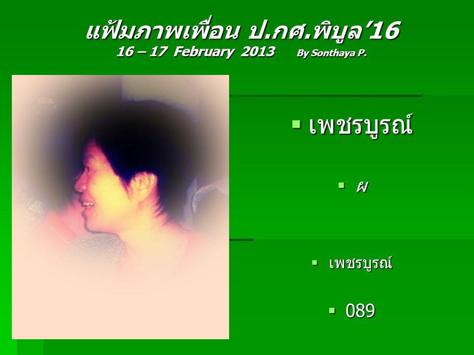 แฟ้มภาพเพื่อน ป.กศ.พิบูล'16 16 – 17 February 2013 By Sonthaya P.  เพชรบูรณ์  ผ  เพชรบูรณ์  089