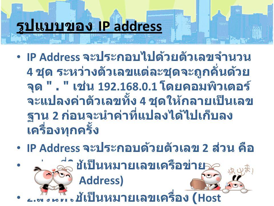 รูปแบบของ IP address IP Address จะประกอบไปด้วยตัวเลขจำนวน 4 ชุด ระหว่างตัวเลขแต่ละชุดจะถูกคั่นด้วย จุด