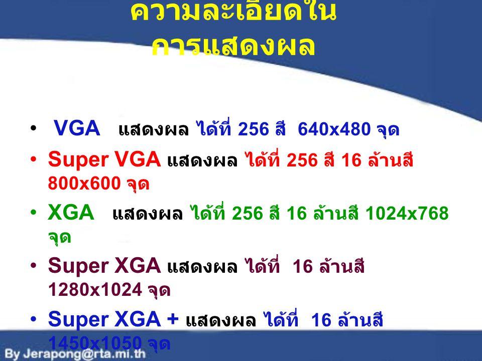 ความละเอียดใน การแสดงผล VGA แสดงผล ได้ที่ 256 สี 640x480 จุด Super VGA แสดงผล ได้ที่ 256 สี 16 ล้านสี 800x600 จุด XGA แสดงผล ได้ที่ 256 สี 16 ล้านสี 1024x768 จุด Super XGA แสดงผล ได้ที่ 16 ล้านสี 1280x1024 จุด Super XGA + แสดงผล ได้ที่ 16 ล้านสี 1450x1050 จุด Ultra XGA แสดงผล ได้ที่ 16 ล้านสี 1600x1200 จุด