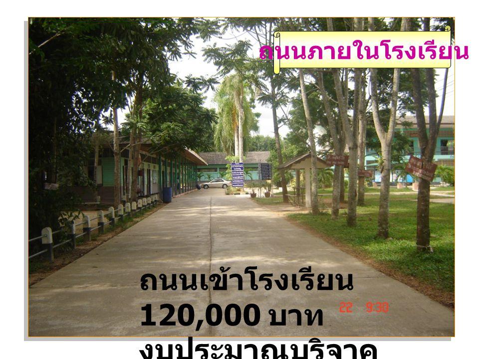 ถนนภายในโรงเรียน ถนนเข้าโรงเรียน 120,000 บาท งบประมาณบริจาค