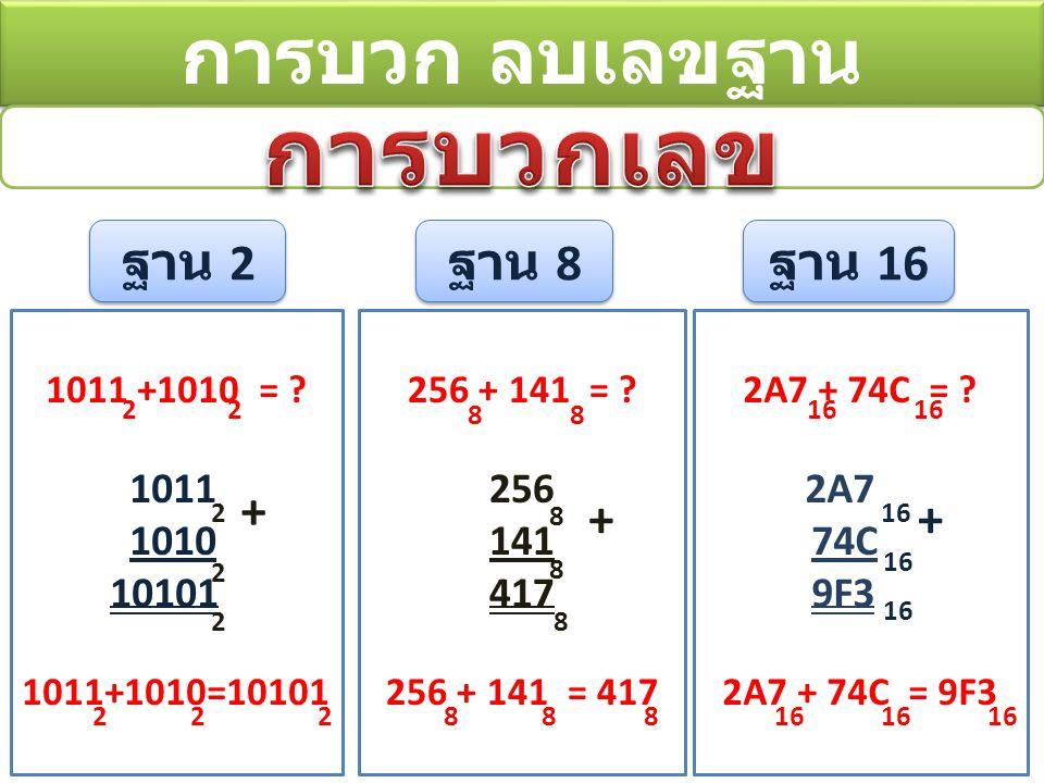 การบวก ลบเลขฐาน ฐาน 2 ฐาน 8 ฐาน 16 1011 +1010 = .