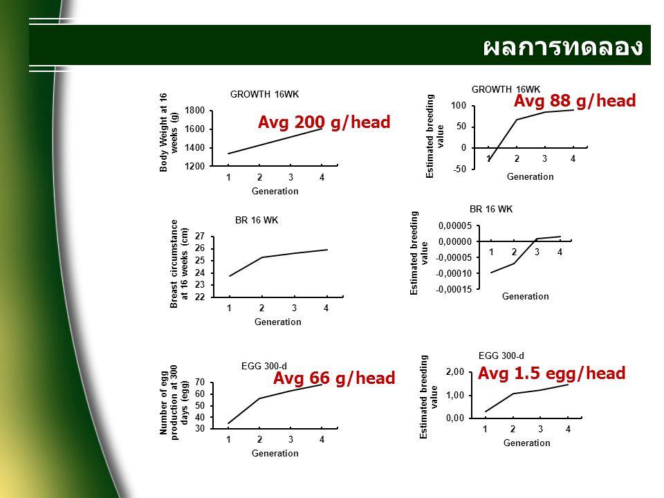 ผลการทดลอง ประดู่หางดำ ลักษณะ VpVah2SE.BWBR EG G น้ำหนักตัวที่อายุ 16 สัปดาห์ 50.
