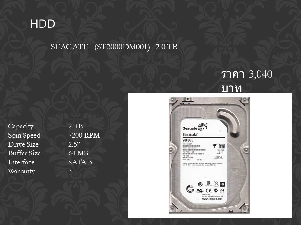 HDD SEAGATE (ST2000DM001) 2.0 TB ราคา 3,040 บาท Capacity 2 TB.