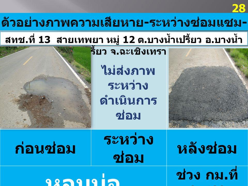 ก่อนซ่อม ระหว่าง ซ่อม หลังซ่อม หลุมบ่อ ช่วง กม. ที่ 0+400 28 สทช.