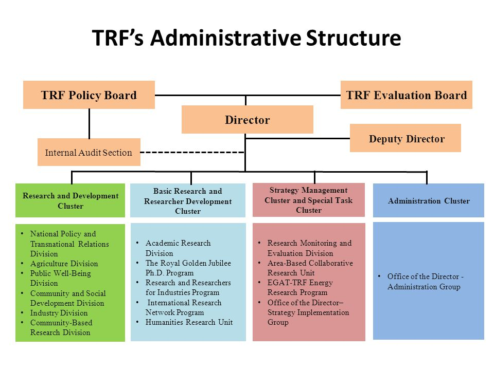 TRF's Administrative Structure Research and Development Cluster National Policy and Transnational Relations Division Agriculture Division Public Well-Being Division Community and Social Development Division Industry Division Community-Based Research Division Academic Research Division The Royal Golden Jubilee Ph.D.