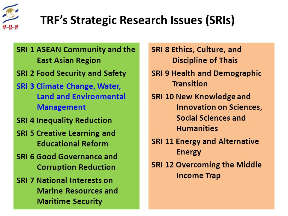 Current & past activities and roles of TRF & JGSEE TRF- Climate Research MoU with Ramkhamheang U on Climate projection & modeling MoU with KMUTT on Seasonal forecast Future unit Mou With Silpakorn U on Cloud Physics Managed/facilitated by JGSEE Several projects on climate change have been supported by TRF Currently supporting Dr.