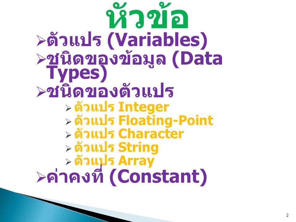 3.3 ชนิดตัวแปร  ตัวแปรในภาษา C มีหลายชนิด ที่กำหนด ตามชนิดของข้อมูล  ตัวแปรพื้นฐาน 3 ชนิด ตัวแปร Integer (2 bytes) เก็บค่าเลขจำนวนเต็ม ตัวแปร Floating Point (4 bytes) เก็บค่าเลขจำนวน จริง ตัวแปร Character (1 byte) เก็บตัวอักษรรหัส ASCII  ตัวแปรขั้นสูง ตัวแปร String (m bytes) เก็บหลายตัวอักษร ตัวแปร Array (n bytes) เก็บค่าเลขหลายสมาชิก