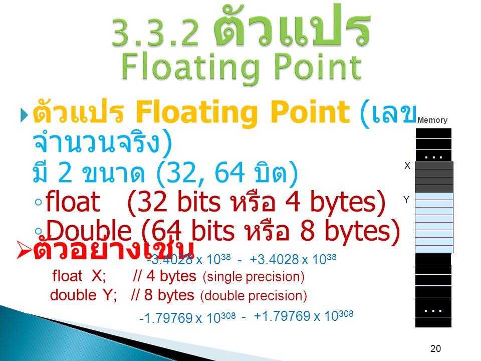 20 3.3.2 ตัวแปร Floating Point  ตัวแปร Floating Point ( เลข จำนวนจริง ) มี 2 ขนาด (32, 64 บิต ) ◦ float (32 bits หรือ 4 bytes) ◦ Double (64 bits หรือ