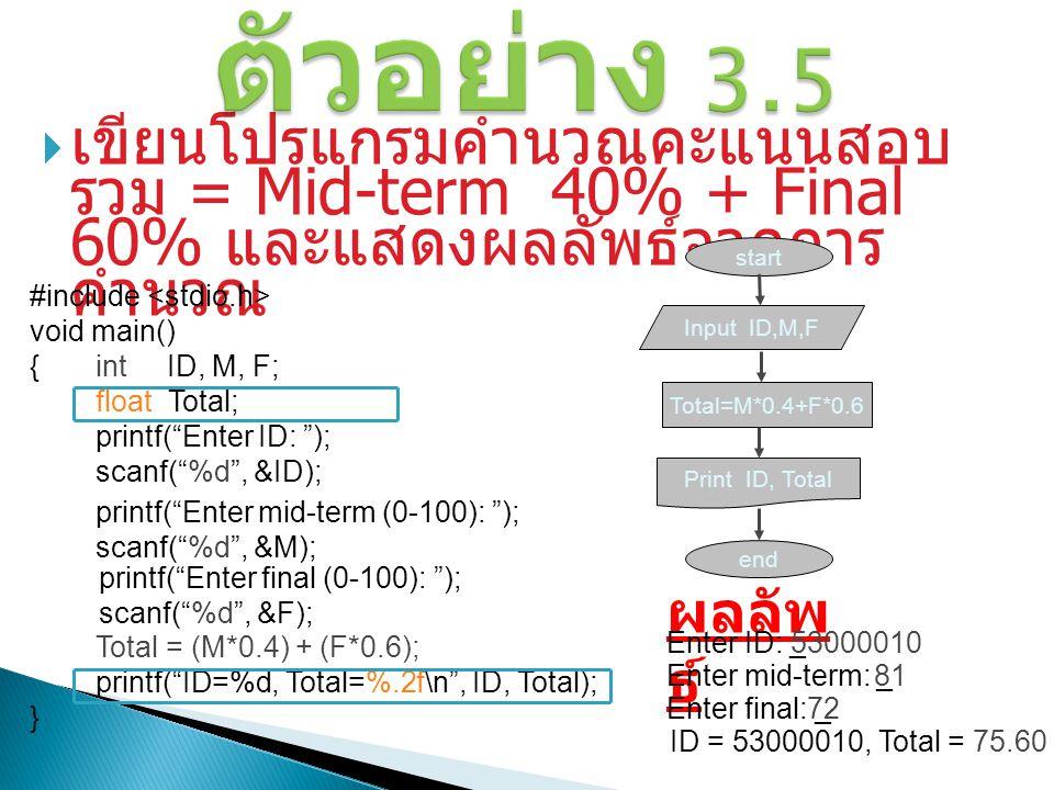 """ เขียนโปรแกรมคำนวณคะแนนสอบ รวม = Mid-term 40% + Final 60% และแสดงผลลัพธ์จากการ คำนวณ #include void main() {int ID, M, F; float Total; printf(""""Enter I"""