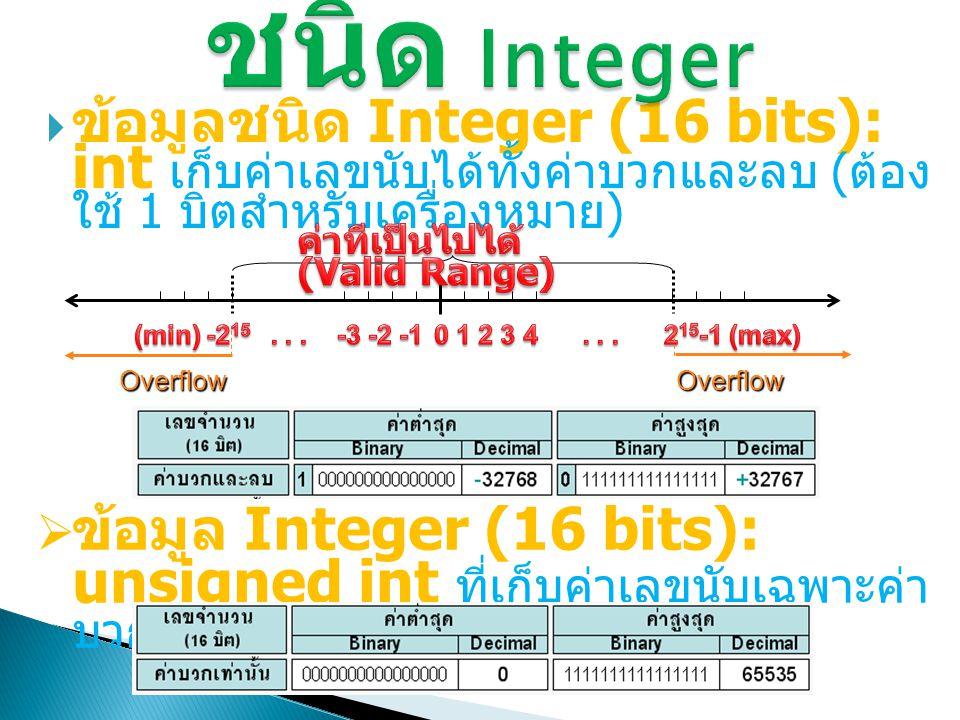  ข้อมูลชนิด Integer (16 bits): int เก็บค่าเลขนับได้ทั้งค่าบวกและลบ ( ต้อง ใช้ 1 บิตสำหรับเครื่องหมาย ) Overflow Overflow  ข้อมูล Integer (16 bits):