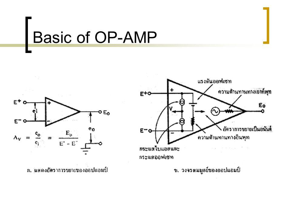 Basic of OP-AMP อัตราสลูว์เรท สลูว์เรท (Slew rate) สลูว์เรท หมายถึง ความสามารถในการให้เอาท์พุท เพื่อไล่ให้ทัน การเปลี่ยนแปลงทางอินพุท ที่ป้อนเข้ามา ถ้าป้อนแรงดันรูปคลื่นสี่เหลี่ยมซึ่งมีแอมปลิจูด ใหญ่ให้กับออปแอมป์ แล้ววัดดูความเร็วในการขึ้นลงของรูปคลื่นทางเอาท์พุทจะได้ เป็นค่าสลูว์เรทออกมา ตัวอย่างเช่นเอาท์พุทให้แรงดันที่เปลี่ยนแปลงไป 10 V ในเวลา 0.1 mS แสดงว่ามีสลูว์เรท เท่ากับ 10 / 0.1 microS = 100V / microS คลื่นสามเหลี่ยมความถี่ 1Hz ขนาด 1 Vpp จะมีสลูว์เรทเท่ากับ 0.5 V / 0.25 microS หรือ 2 V / Sec แต่ถ้าขนาดเพิ่มเป็น 10 Vpp ค่าสลูว์เรทจะเป็น 5 V / 0.25 Sec หรือ 20 V / Sec นั่นเอง ซึ่งจะเพิ่มขึ้นถึง 10 เท่าตัว อัตราการเปลี่ยนแรงดันนี้เราเรียกว่า สลูว์เรท