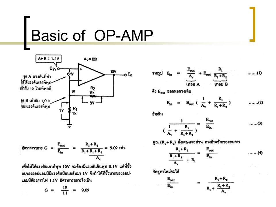 Basic of OP-AMP อัตราสลูว์เรท ปัญหาที่เกี่ยวข้องกับสลูว์เรท คือ การที่จะให้รูปคลื่นที่สมบูรณ์มี ขนาดใหญ่ได้เท่าใด ในขณะที่ ความถี่สูงขึ้น ซึ่งไม่เกี่ยวข้อง กับผลตอบสนองทางความถี่เลย