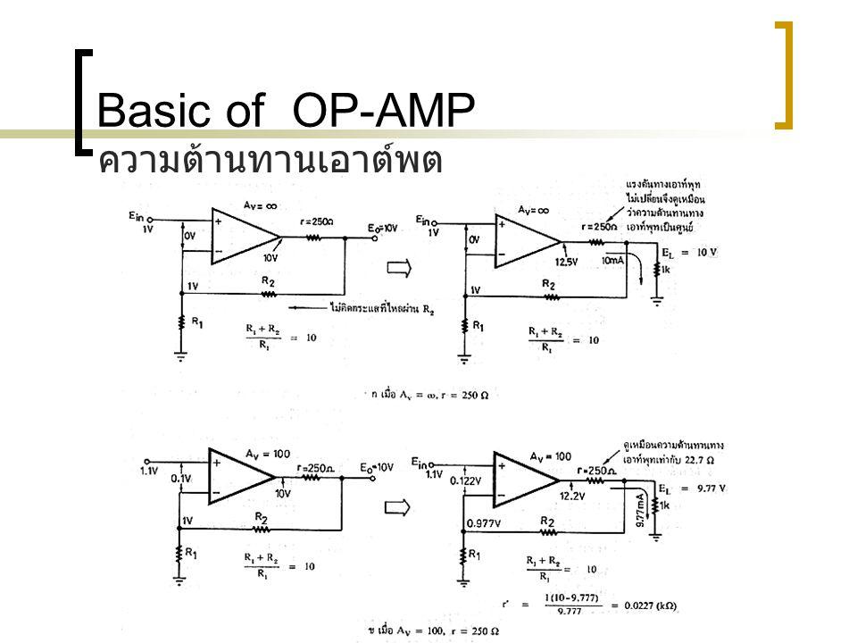 Basic of OP-AMP แรงดันออฟเซททางอินพุท แรงดันออฟเซททางอินพุทเป็นเรื่องสำคัญมากเรื่องหนึ่ง เมื่อเราศึกษาเรื่องออปแอมป์ แรงดันออปเซททางอินพุทหมายถึง แรงดันขนาดเล็กที่ปรากฏระหว่างอินพุทบวกลบ ของออปแอมป์ในขณะที่แรงดันอินพุทเป็นศูนย์