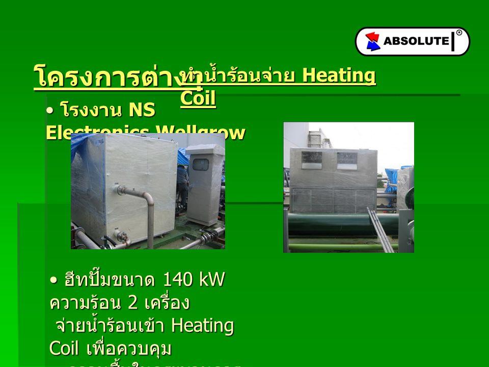 โครงการต่างๆ โรงงาน NS Electronics Wellgrow โรงงาน NS Electronics Wellgrow ฮีทปั๊มขนาด 140 kW ความร้อน 2 เครื่อง จ่ายน้ำร้อนเข้า Heating Coil เพื่อควบคุม ความชื้นในกระบวนการ ผลิต ฮีทปั๊มขนาด 140 kW ความร้อน 2 เครื่อง จ่ายน้ำร้อนเข้า Heating Coil เพื่อควบคุม ความชื้นในกระบวนการ ผลิต ทำน้ำร้อนจ่าย Heating Coil