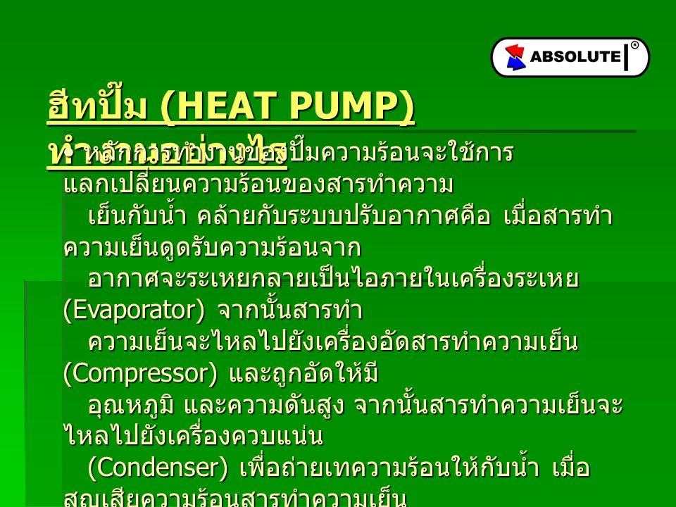 ข้อดีของฮีทปั๊ม ประหยัดพลังงานในการทำน้ำร้อน สามารถให้ค่าความร้อนแก่น้ำในปริมาณที่เท่ากันกับ ฮีทเตอร์ไฟฟ้า (Electric Heater) แต่กินไฟน้อยกว่า 3-4 เท่า ( ขึ้นอยู่กับค่า การออกแบบ ) เนื่องจากใช้การ แลกเปลี่ยนความร้อนของสารทำความเย็นในสถานะ แกส กับน้ำ ทำให้น้ำร้อน ซึ่ง ต่างจากฮีทเตอร์ไฟฟ้าที่เปลี่ยนพลังงานไฟฟ้าเป็น พลังงานความร้อนโดยตรง เป็นพลังงานสะอาด เนื่องจากปั๊มความร้อนรุ่นมาตรฐานใช้สารทำความ เย็น R134a ซึ่งเป็นสารทำ ความเย็นในอนาคต ไม่ก่อให้เกิดมลภาวะกับ สิ่งแวดล้อม ต่างจากสาร CFC ซึ่ง ก่อให้เกิดมลภาวะและยังทำให้โลกร้อน นอกจากนี้ ยังได้ค่าความร้อนสูงเหมาะ กับการทำน้ำร้อนอีกด้วย ประหยัดพลังงานในการทำน้ำร้อน สามารถให้ค่าความร้อนแก่น้ำในปริมาณที่เท่ากันกับ ฮีทเตอร์ไฟฟ้า (Electric Heater) แต่กินไฟน้อยกว่า 3-4 เท่า ( ขึ้นอยู่กับค่า การออกแบบ ) เนื่องจากใช้การ แลกเปลี่ยนความร้อนของสารทำความเย็นในสถานะ แกส กับน้ำ ทำให้น้ำร้อน ซึ่ง ต่างจากฮีทเตอร์ไฟฟ้าที่เปลี่ยนพลังงานไฟฟ้าเป็น พลังงานความร้อนโดยตรง เป็นพลังงานสะอาด เนื่องจากปั๊มความร้อนรุ่นมาตรฐานใช้สารทำความ เย็น R134a ซึ่งเป็นสารทำ ความเย็นในอนาคต ไม่ก่อให้เกิดมลภาวะกับ สิ่งแวดล้อม ต่างจากสาร CFC ซึ่ง ก่อให้เกิดมลภาวะและยังทำให้โลกร้อน นอกจากนี้ ยังได้ค่าความร้อนสูงเหมาะ กับการทำน้ำร้อนอีกด้วย