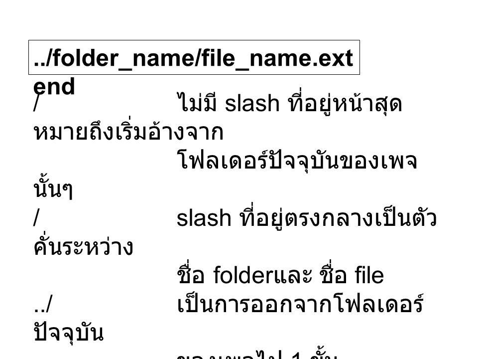 ../folder_name/file_name.ext end / ไม่มี slash ที่อยู่หน้าสุด หมายถึงเริ่มอ้างจาก โฟลเดอร์ปัจจุบันของเพจ นั้นๆ /slash ที่อยู่ตรงกลางเป็นตัว คั่นระหว่าง ชื่อ folder และ ชื่อ file../ เป็นการออกจากโฟลเดอร์ ปัจจุบัน ของเพจไป 1 ขั้น folder_name ชื่อ folder file_name ชื่อ file extend นามสกุลของ file