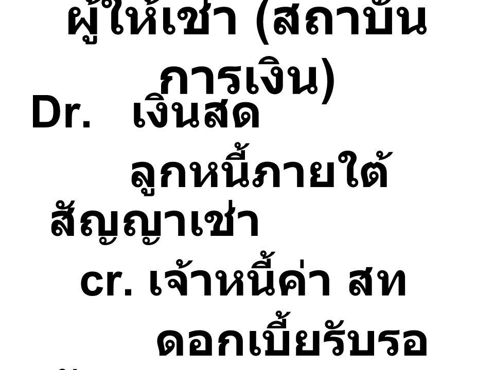ผู้ให้เช่า ( สถาบัน การเงิน ) Dr. เงินสด ลูกหนี้ภายใต้ สัญญาเช่า cr. เจ้าหนี้ค่า สท ดอกเบี้ยรับรอ ตัด
