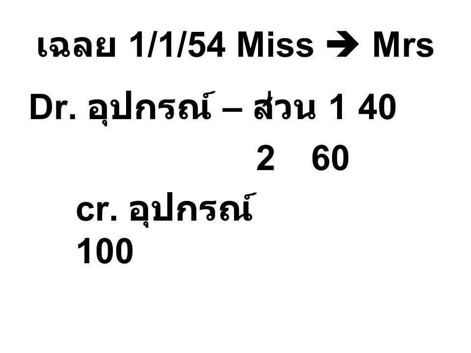 เฉลย 1/1/54 Miss  Mrs Dr. อุปกรณ์ – ส่วน 140 260 cr. อุปกรณ์ 100