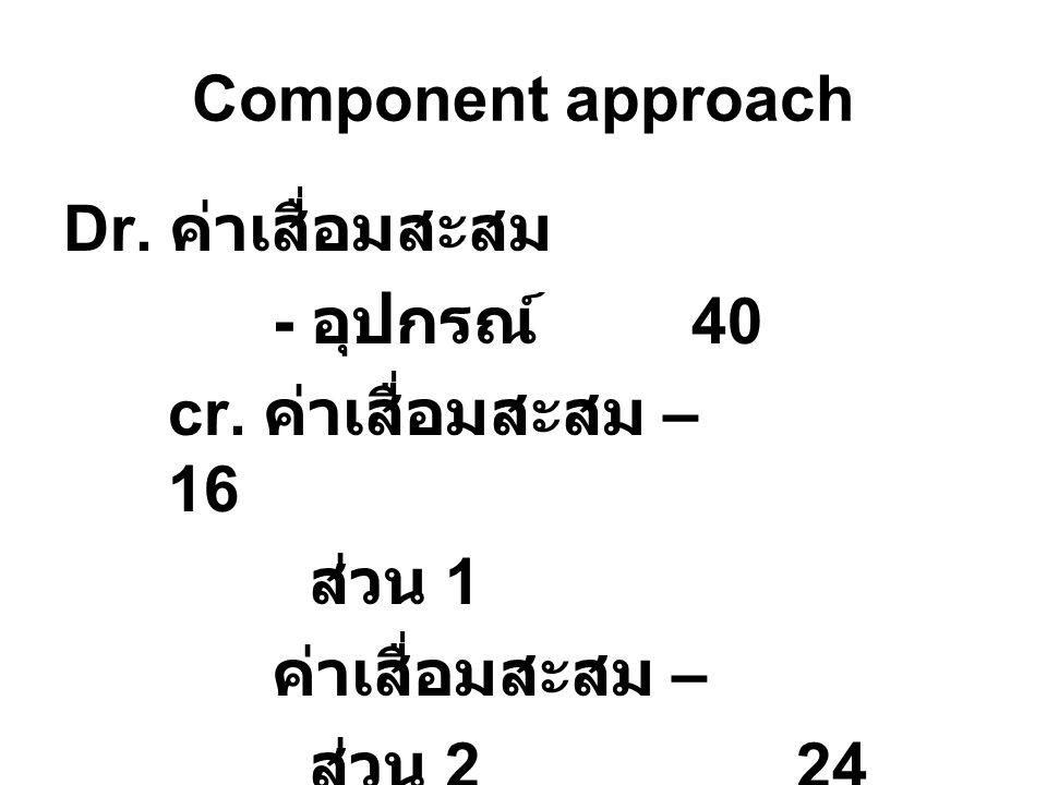 Component approach Dr. ค่าเสื่อมสะสม - อุปกรณ์ 40 cr. ค่าเสื่อมสะสม – 16 ส่วน 1 ค่าเสื่อมสะสม – ส่วน 224
