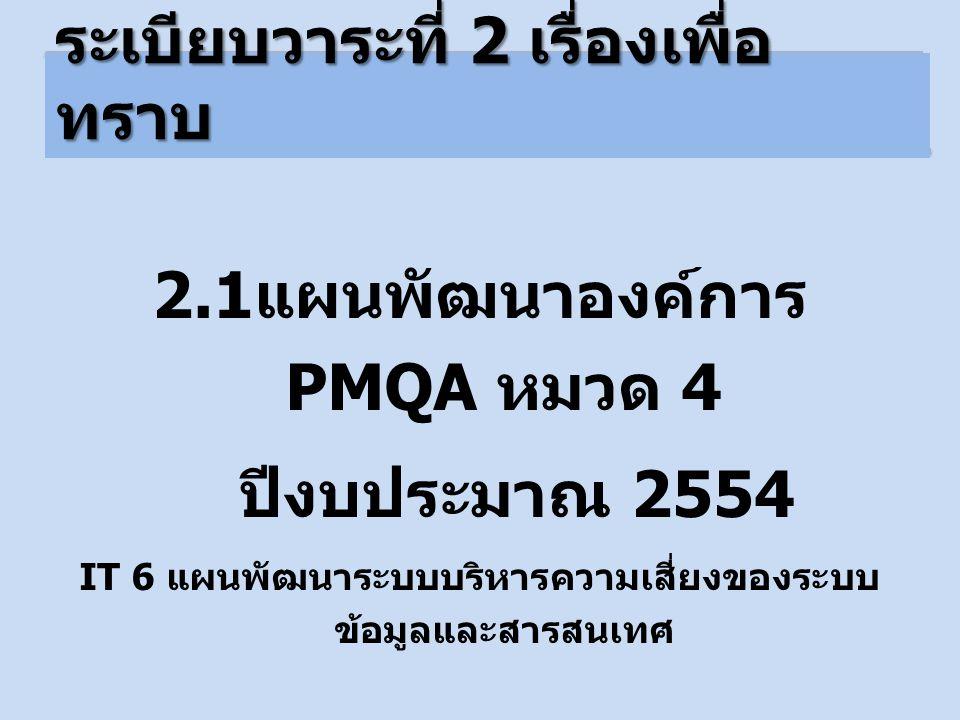 2.1 แผนพัฒนาองค์การ PMQA หมวด 4 ปีงบประมาณ 2554 IT 6 แผนพัฒนาระบบบริหารความเสี่ยงของระบบ ข้อมูลและสารสนเทศ ระเบียบวาระที่ 2 เรื่องเพื่อ ทราบ