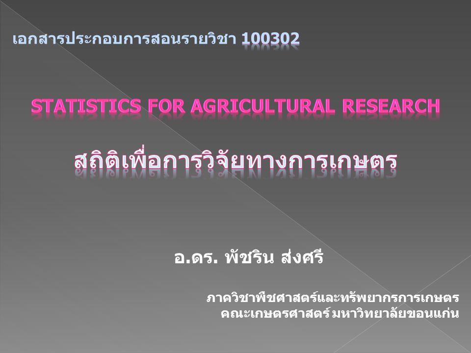 อ.ดร. พัชริน ส่งศรี ภาควิชาพืชศาสตร์และทรัพยากรการเกษตร คณะเกษตรศาสตร์ มหาวิทยาลัยขอนแก่น