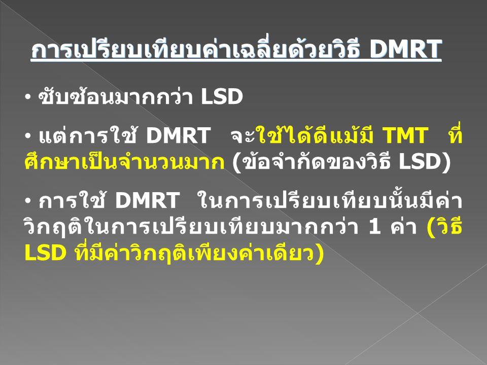 ซับซ้อนมากกว่า LSD แต่การใช้ DMRT จะใช้ได้ดีแม้มี TMT ที่ ศึกษาเป็นจำนวนมาก (ข้อจำกัดของวิธี LSD) การใช้ DMRT ในการเปรียบเทียบนั้นมีค่า วิกฤติในการเปร