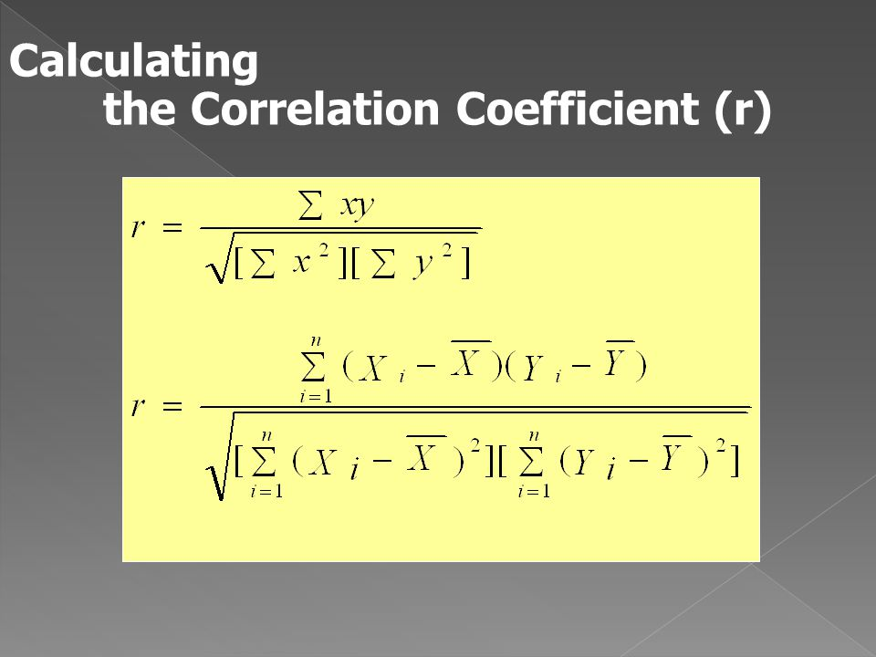 Calculating the Correlation Coefficient (r)