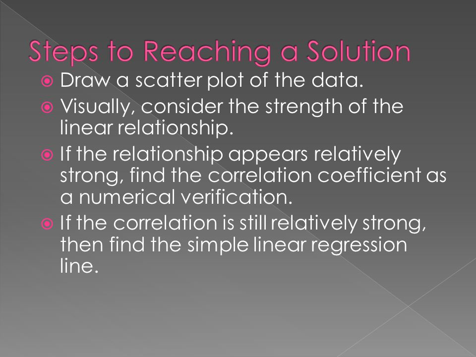  Draw a scatter plot of the data.  Visually, consider the strength of the linear relationship.  If the relationship appears relatively strong, find