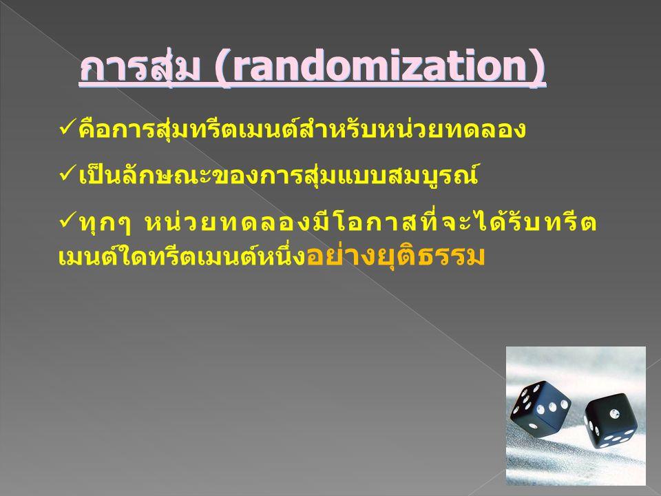 การสุ่ม (randomization) คือการสุ่มทรีตเมนต์สำหรับหน่วยทดลอง เป็นลักษณะของการสุ่มแบบสมบูรณ์ ทุกๆ หน่วยทดลองมีโอกาสที่จะได้รับทรีต เมนต์ใดทรีตเมนต์หนึ่ง