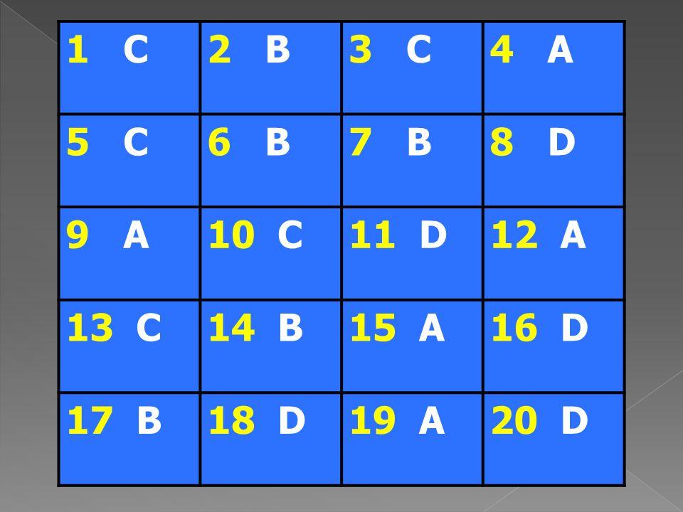 1 C2 B3 C4 A 5 C6 B7 B8 D 9 A10 C11 D12 A 13 C14 B15 A16 D 17 B18 D19 A20 D